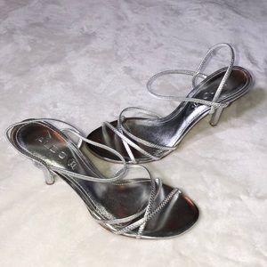 NWOT Aldo Strappy Silver Heels Size 9 PROM